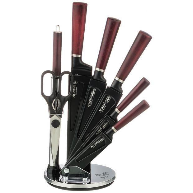 Набор ножей agness с ножницами и мусатом на пластиковой подставке, 8 предметов-911-676