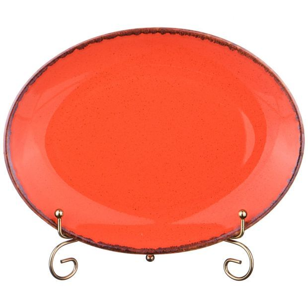 Тарелка seasons 24*18,5 см овальная цвет оранжевый (кор=12шт.)-664-179