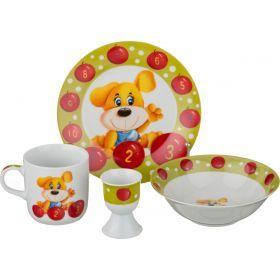 Наборы посуды на 1 персону 4пр.:миска,тарелка,кружка 200 мл.,подставка под яйцо-87-107