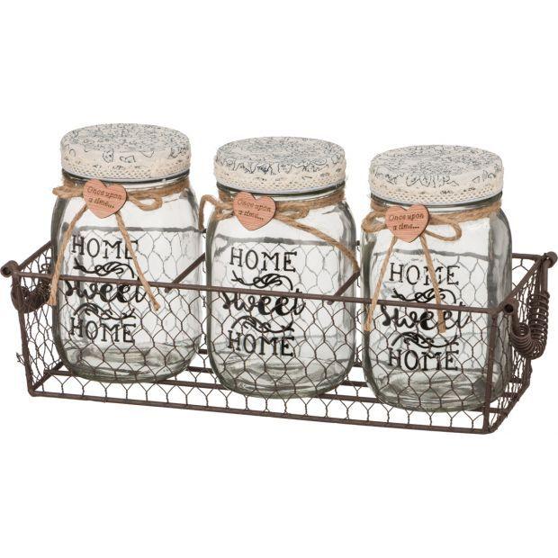 """Набор банок для сыпучих продуктов из 3-х шт.""""home"""" в металлической корзинке 30*10*14 см. (кор=12 шт.-222-070"""