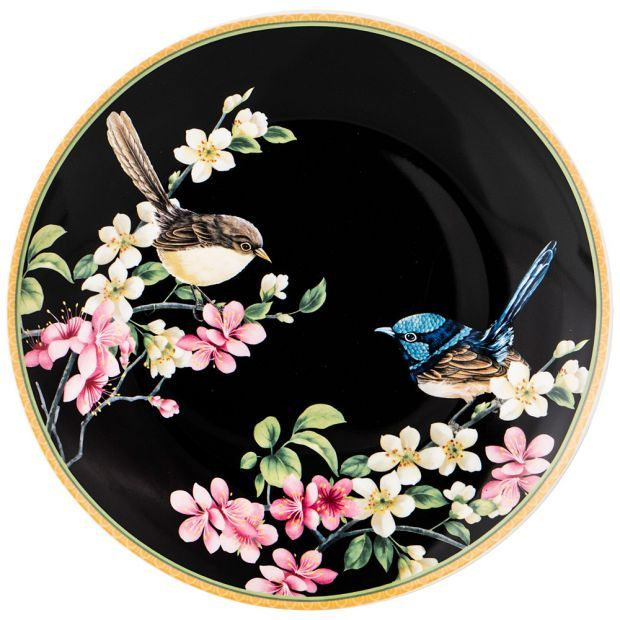 "Тарелка закусочная ""цветущий сад"" 20см черная (кор=48шт.)-104-549"