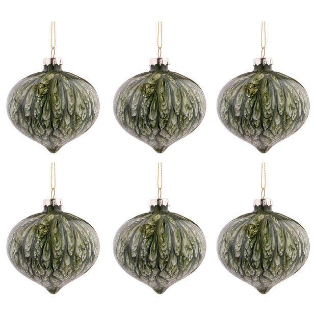 """Набор из 6-ти декоративных изделий коллекция мрамор""""шар"""" диаметр=8 см,высота=9 см цвет: изумруд-864-125"""