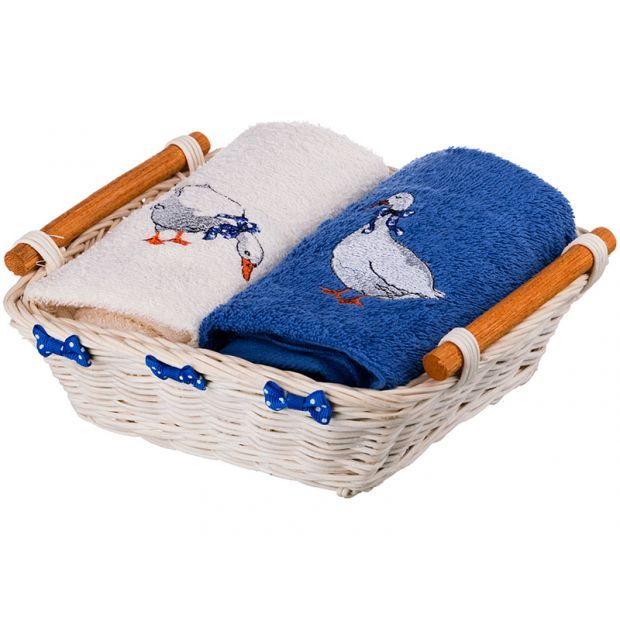 """Комплект полотенец  в корзинке 40х70 см. 2шт, """"гуси"""",х/б 100%,синий/шампань/махра-850-840-36"""