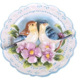 Тарелка настенная декоративная птицы на шиповнике диаметр=20 см. высота=4 см.