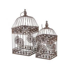 Набор клеток для птиц декоративных из 2-х шт.l:18*18*38,s:14*14*30 см-123-145