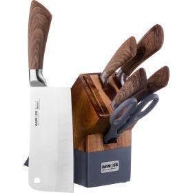 Набор ножей на деревянной подставке, 6пр.-911-606