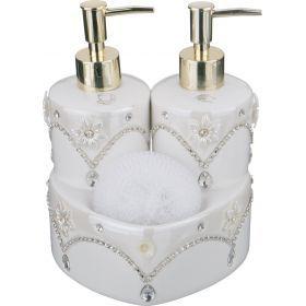 Набор для кухни:дозатор для жидкого мыла+подставка для губки+губка