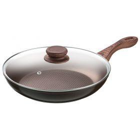 Сковорода со стекл.крышкой и антипригарным покрытием диаметр=28 см.высота=5,3 см.-918-148