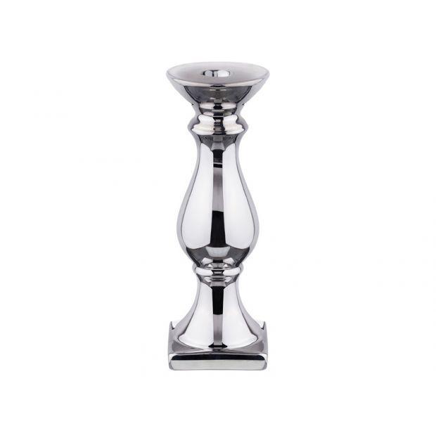 Подсвечник серебристый 7.5*7.5*23 см.-156-971