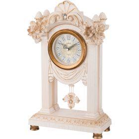 Часы настольные кварцевые с маятником  белые цветы 26,5*12*45,5 см. диаметр циферблата=11 см.