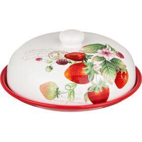 Блюдо для блинов с крышкой клубника высота=10 см.диаметр=23 см.