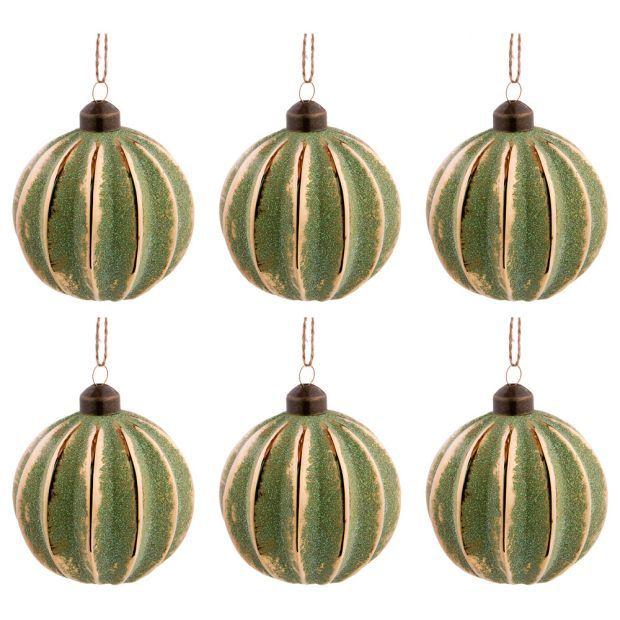 """Набор из 6-ти декоративных изделий коллекция винтаж""""шар"""" диаметр=8 см,высота=9 см цвет: изумруд-864-120"""