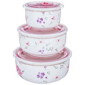 Набор контейнеров для пищевых продуктов из 3 шт. 1000/800/300 мл диаметр=15/13/10 см-274-918