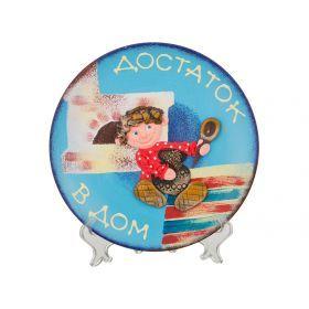 Тарелка декоративная с подставкой домовенок ручная лепка диаметр=20 см.