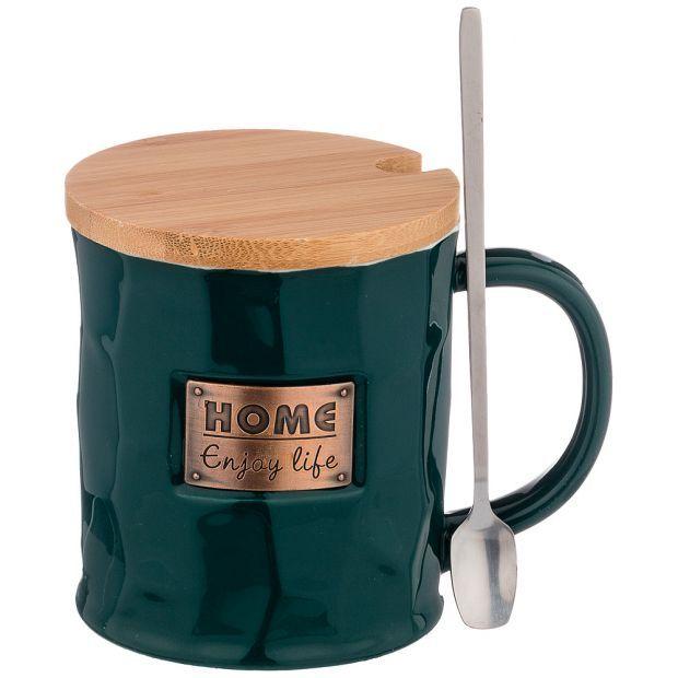 """Кружка """"break time"""" с ложкой и деревянной крышкой 380мл, зеленая (кор=60шт.)-90-1019"""
