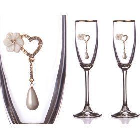 Набор бокалов для шампанского из 2 шт.с золотой каймой 170 мл.-802-510644