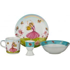 Наборы посуды на 1 персону 4пр.:миска,тарелка,кружка 200 мл, подставка под яйцо (кор=12наб.)-87-042