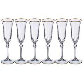 Набор бокалов для шампанского из 6 шт. 100 мл. высота=23 см.-103-554
