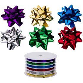 Набор для украшения подарков из 7 шт.в тубе: 6 бантиков длина=8 см и лента 5 мм*5 м-224-064