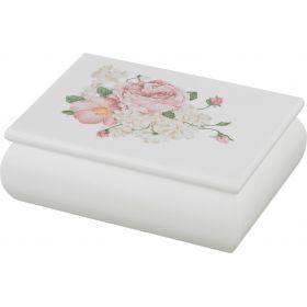 Шкатулка для украшений белая с цветами 11*5*15 см.-255-136