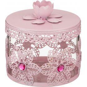 Банка для сыпучих продуктов розовая 11*10 см.-158-148