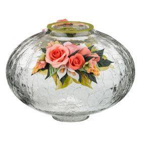 Ваза декоративная крапле роза классическая бело-розовая лепка величина 2 высота=15 см.