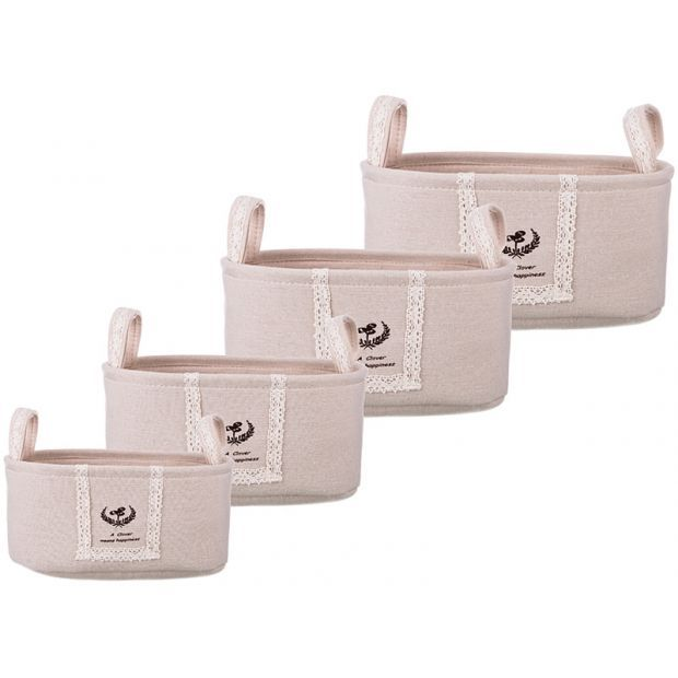 Набор корзинок для хранения с ручками из 4-х шт. l:36*26*18/m:32*22*16/s:28*18*14/xs:24*14*12 см(кор-190-185