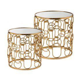 Набор из 2-х дизайнерских подставок l:49,5*49,5*51 см,s:43,5*43,5*46 см цвет:золото,слоновая кость-218-051