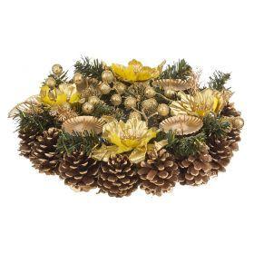 Подсвечник золотой декорированный на 4 свечи  диаметр=30 см-161-139
