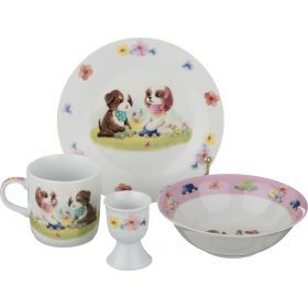 Наборы посуды на 1 персону 4пр.:миска,тарелка,кружка 200 мл.,подставка под яйцо-87-106