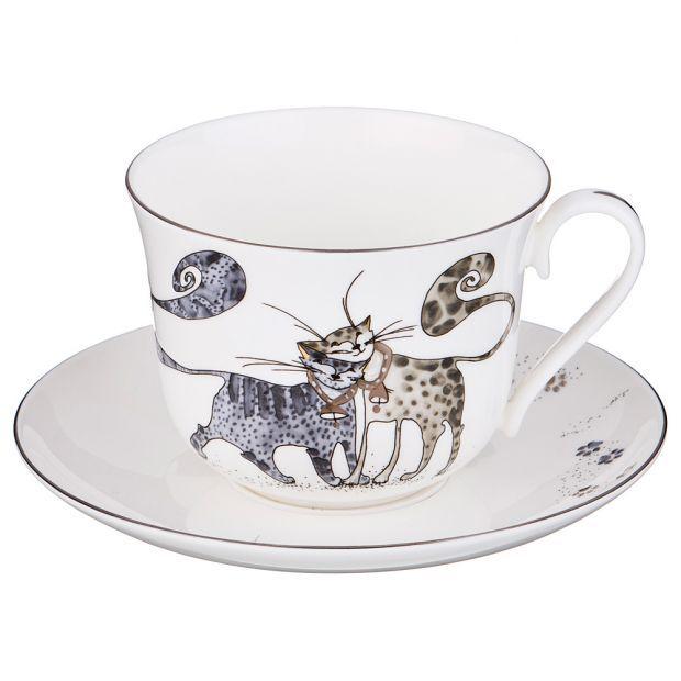 """Чайный набор """"котики"""" на 1 персону 2 пр. 450 мл.-264-531"""