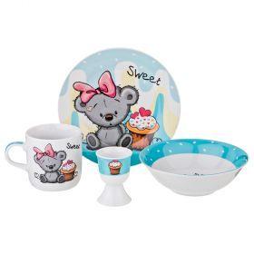 Наборы посуды на 1 персону 4пр.:миска, тарелка, кружка 200 мл, подставка под яйцо-87-157