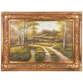 Картина масляная на холсте 90*60 см. багет 118*88 см.-107-1073