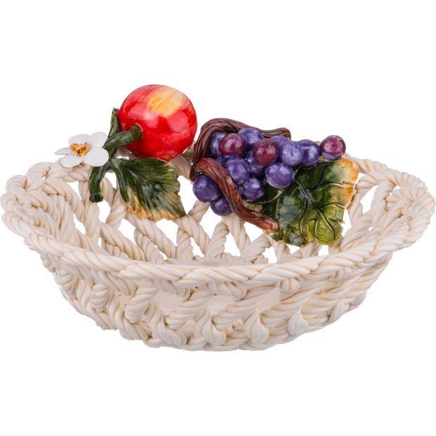"""Изделие декоративное """"корзина с фруктами"""" диаметр=27 см. высота=9 см.-335-333"""