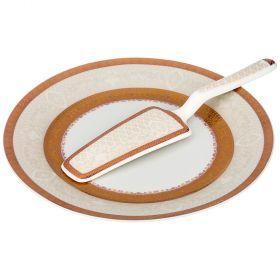 Блюдо для торта с лопаткой диаметр=23 см. высота=2 см. (кор=20шт.)-389-524