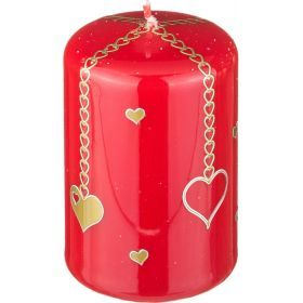 Свеча валентинка высота=9 см.диаметр=6 см.