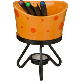 Набор фондю : чаша+4 вилочки+свеча+метал подставка диаметр=12 см.-470-335