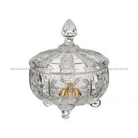 Конфетница с крышкой кристал диаметр = 12 см, высота = 14 см
