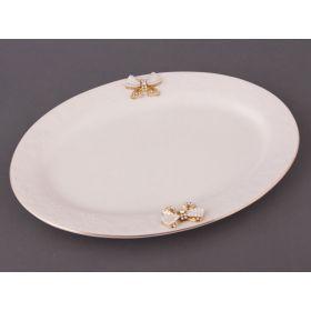 Блюдо овальное с бантиком в ассортименте длина=30 см.-392-029
