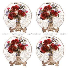 Набор тарелок декоративных из 4 шт.роза красная + бел.кружево диаметр=15 см.