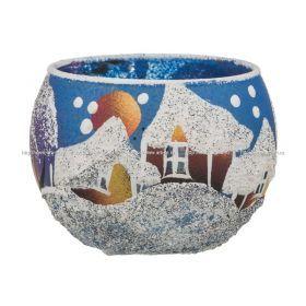 Подсвечник декоративный зима синяя диаметр=4 см.без упаковки