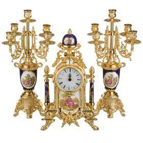 Набор:часы+2 подсвечника (кварцевые) высота=40/42 см.диаметр циферблата=10 см.-292-014