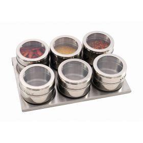 Набор для специй 6 пр.на магнитах+метал.подставка 20*13*5 см.-912-004