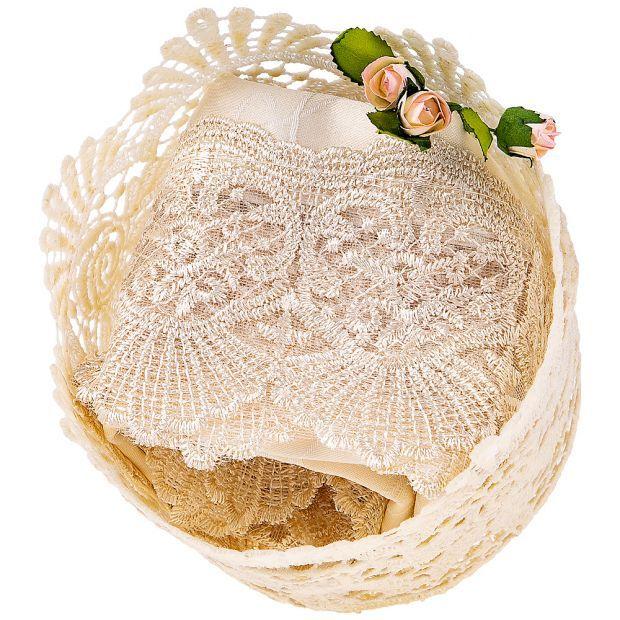 "Набор из салфетки в корзине,""ричард"",40х40 см,100% п/э, с кружевом, шампань-850-880-43"