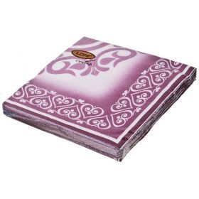 Салфетки бумажные 2-х слойные 33*33 см бордо-423-229-1