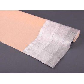 Бумага дизайнерская упаковочная жатая , цвет-персик-серебро дл-2,5 м, ш-0,5 м (кор=100рул.)-522-015