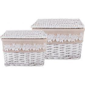 Набор корзинок для хранения с крышками из 2-х шт. l:36*26*25 s:30*20*18 см-190-202