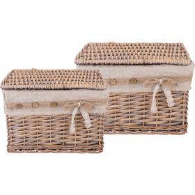 Набор корзинок для хранения с крышками из 2-х шт. l:36*26*25 s:30*20*18 см-190-208