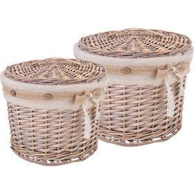 Набор корзинок для хранения с крышками из 2-х шт. l:ф30*25 s:ф23*18 см-190-207