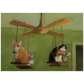 Открытка коты на вентиляторе 15*10,5 см.
